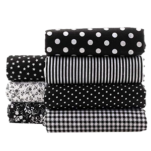 JANOU 7pcs Floral DIY Craft Cotton Fabric Handmade Textiles Bundle Squares Quilting Lint for Sewing Bags Bedding Patchwork (Black)