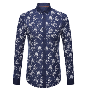 Circinate Print Long Sleeve Button-Down Shirt